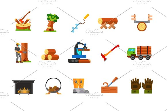 Sawmill And Wood Icon Set