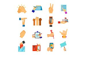 Symbolic hands icon set