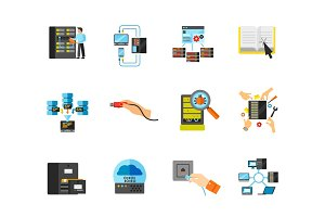 Data center concept icon set