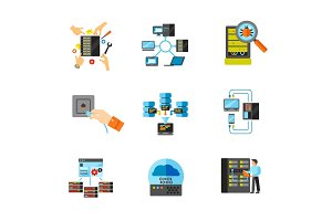 Data center icon set