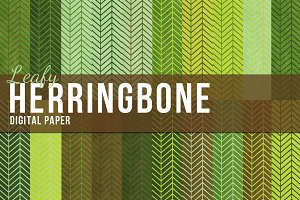 20 Green Herringbone Papers