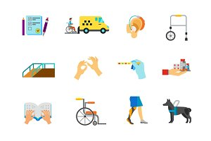 Disabled people icon set