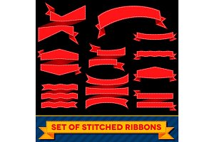 Set of bent ribbons with seam