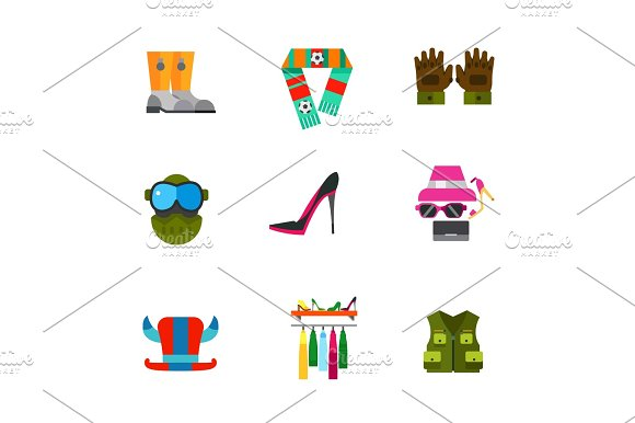 Fashion Clothes And Workwear Icon Set