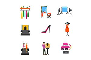 Fashion show concept icon set