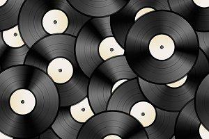 Vintage vinyl discs, retro pattern