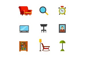 Home relaxation icon set