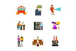 Peoples activity icon set