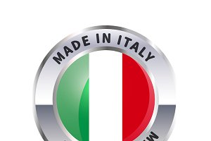 Metal badge icon, made in Italy