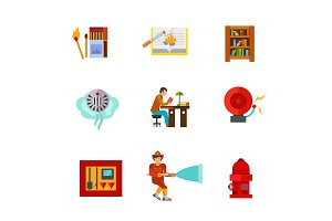 Reading and firefighting icon set