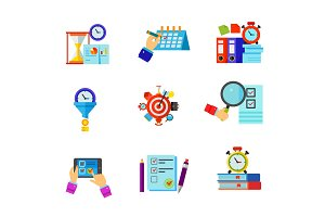 Time management and exam icon set
