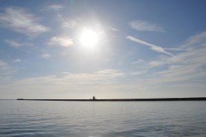 Distant Pier Sea