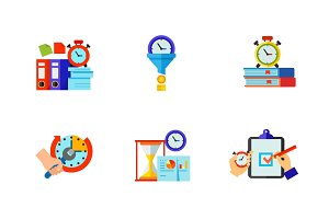 Time management icon set