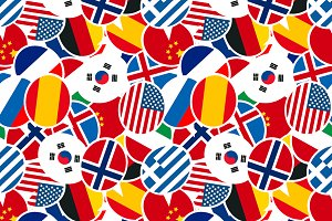 Speech bubbles with different flags