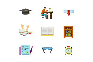 University exam icon set