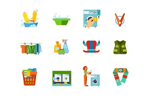 Washing icon set