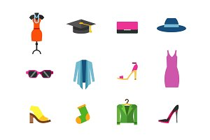 Womens clothes icon set