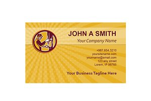 Business card template Worker Drilli