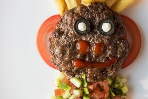Funny meat cutlet face