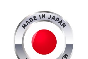 Metal badge icon, made in Japan