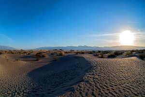 Sun Rising at Death Valley dunes
