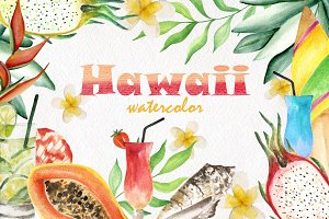 Hawaii. Watercolor set