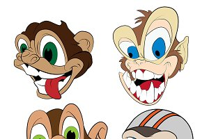 Cartoon Monkey Heads