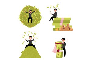 Reach businessman, marrying to money, lying, sitting on it, throwing