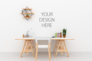 Desk mockup - wall art mock up