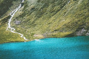 Turquoise Lake in Mountains