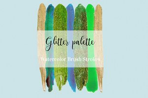 Glitter Watercolor Brush Strokes p.2