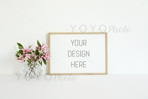 Landscape Floral Frame Mock Up Photo