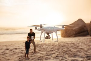 Drone being operated by father