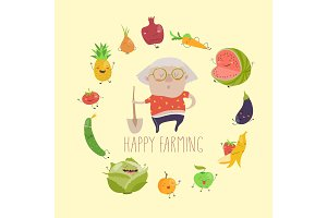 Cute granny farmer with funny vegetables
