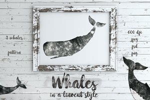 Whales in a linocut print style
