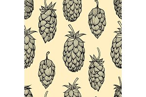 Hop vector seamless pattern.