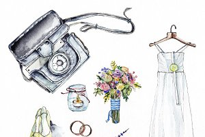 Wedding illustration, watercolor set