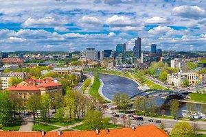 Cityscape of Vilnius, Lithuania.