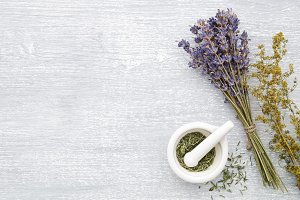 Lavender, healing herbs and mortar
