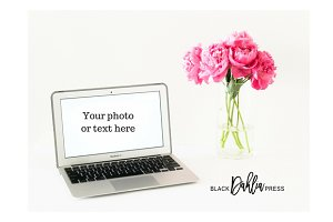 Peonies Styled Desktop with Macbook