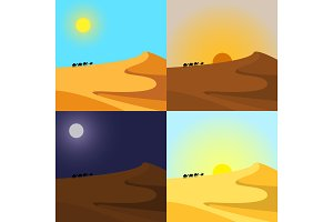 4 times of day in desert. Vector set