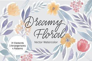 Dreamy Floral Vector Watercolor