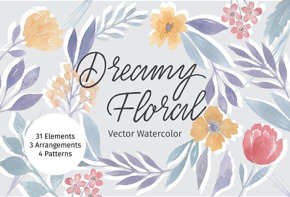 Dreamy Floral Vector Watercolor