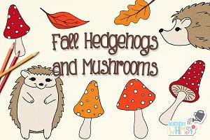 Hedgehog and Mushroom Illustrations