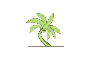Curved Palm Tree Mono Line
