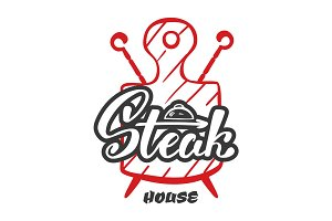 Hand lettering logo.Steak house label, logo and emblem vector templates isolated on white background. Steak house restaurant menu design element.