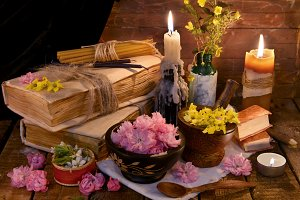 Vintage objects and healing herbs