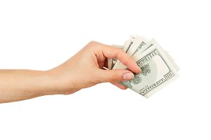 Few dollars in the woman's hand, isolated