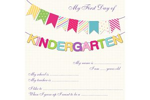 Cute kindergarten bunting with multicolored flags