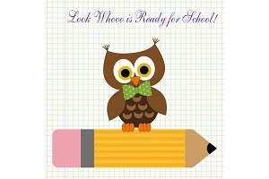 Cute character of little owl sitting on a pencil against copybook squared paper background